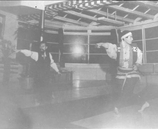 Sugino Sensei instructing actor Mifune Toshiro during the filming of Miyamoto Musashi: Duel at Ichijoji Temple (1955)